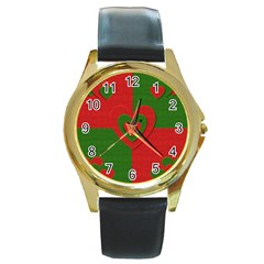 Christmas Fabric Hearts Love Red Round Gold Metal Watch