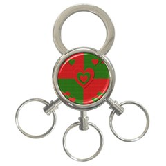 Christmas Fabric Hearts Love Red 3-Ring Key Chains