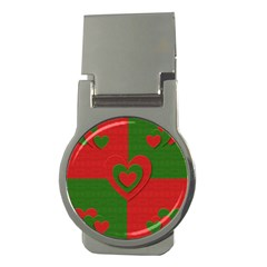 Christmas Fabric Hearts Love Red Money Clips (Round)
