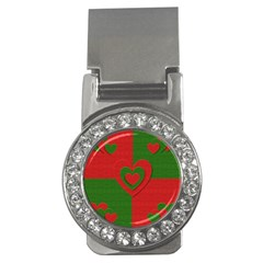 Christmas Fabric Hearts Love Red Money Clips (cz)