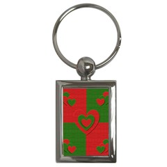 Christmas Fabric Hearts Love Red Key Chains (Rectangle)