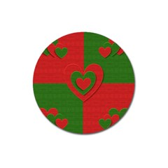 Christmas Fabric Hearts Love Red Magnet 3  (Round)