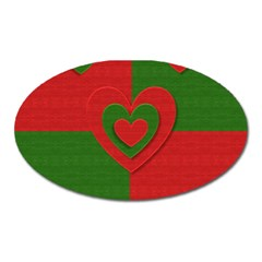 Christmas Fabric Hearts Love Red Oval Magnet