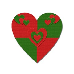 Christmas Fabric Hearts Love Red Heart Magnet