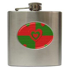 Christmas Fabric Hearts Love Red Hip Flask (6 oz)