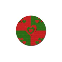Christmas Fabric Hearts Love Red Golf Ball Marker (10 pack)