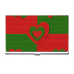 Christmas Fabric Hearts Love Red Business Card Holders