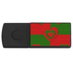 Christmas Fabric Hearts Love Red USB Flash Drive Rectangular (2 GB)