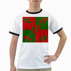 Christmas Fabric Hearts Love Red Ringer T Shirts