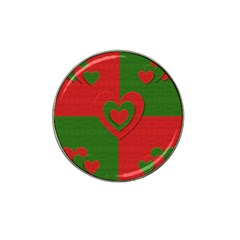Christmas Fabric Hearts Love Red Hat Clip Ball Marker (10 Pack)
