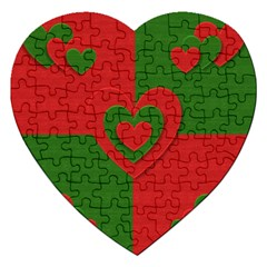 Christmas Fabric Hearts Love Red Jigsaw Puzzle (Heart)