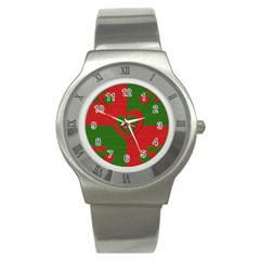 Christmas Fabric Hearts Love Red Stainless Steel Watch