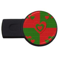 Christmas Fabric Hearts Love Red USB Flash Drive Round (4 GB)