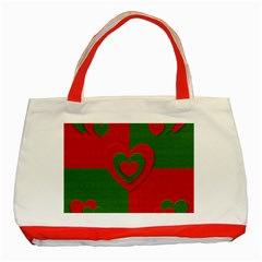 Christmas Fabric Hearts Love Red Classic Tote Bag (Red)