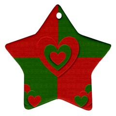 Christmas Fabric Hearts Love Red Star Ornament (Two Sides)