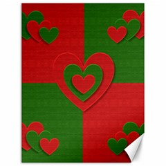 Christmas Fabric Hearts Love Red Canvas 12  x 16