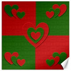 Christmas Fabric Hearts Love Red Canvas 20  x 20