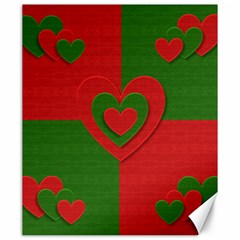 Christmas Fabric Hearts Love Red Canvas 20  x 24