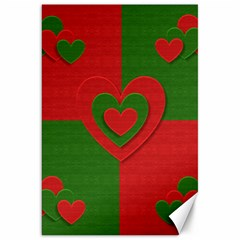 Christmas Fabric Hearts Love Red Canvas 20  x 30