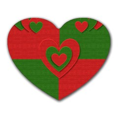 Christmas Fabric Hearts Love Red Heart Mousepads