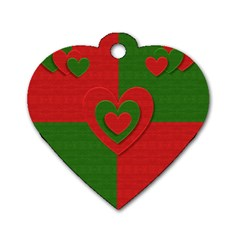 Christmas Fabric Hearts Love Red Dog Tag Heart (Two Sides)