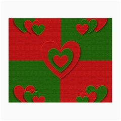 Christmas Fabric Hearts Love Red Small Glasses Cloth (2 Side)