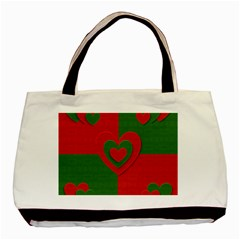 Christmas Fabric Hearts Love Red Basic Tote Bag (Two Sides)