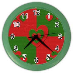 Christmas Fabric Hearts Love Red Color Wall Clocks