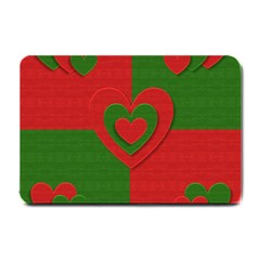 Christmas Fabric Hearts Love Red Small Doormat