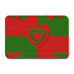 Christmas Fabric Hearts Love Red Plate Mats