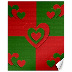 Christmas Fabric Hearts Love Red Canvas 11  x 14