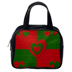 Christmas Fabric Hearts Love Red Classic Handbags (one Side)