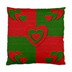 Christmas Fabric Hearts Love Red Standard Cushion Case (Two Sides)