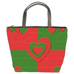 Christmas Fabric Hearts Love Red Bucket Bags