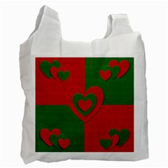 Christmas Fabric Hearts Love Red Recycle Bag (Two Side)