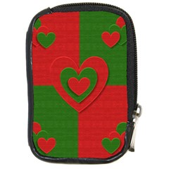 Christmas Fabric Hearts Love Red Compact Camera Cases