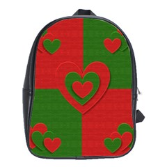 Christmas Fabric Hearts Love Red School Bags(Large)