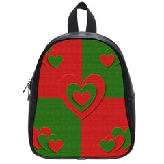 Christmas Fabric Hearts Love Red School Bags (small)