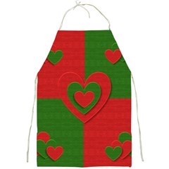 Christmas Fabric Hearts Love Red Full Print Aprons