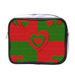 Christmas Fabric Hearts Love Red Mini Toiletries Bags