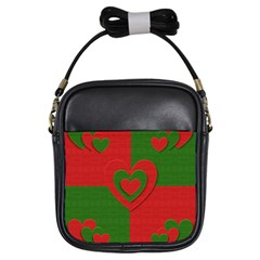 Christmas Fabric Hearts Love Red Girls Sling Bags