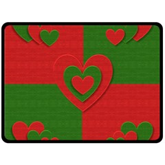 Christmas Fabric Hearts Love Red Fleece Blanket (Large)