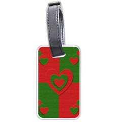 Christmas Fabric Hearts Love Red Luggage Tags (one Side)