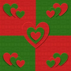 Christmas Fabric Hearts Love Red Magic Photo Cubes