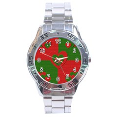 Christmas Fabric Hearts Love Red Stainless Steel Analogue Watch