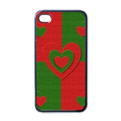 Christmas Fabric Hearts Love Red Apple iPhone 4 Case (Black)