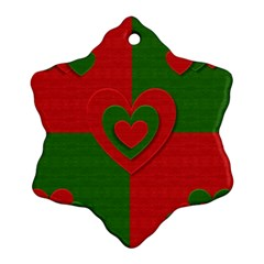 Christmas Fabric Hearts Love Red Ornament (Snowflake)