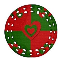 Christmas Fabric Hearts Love Red Round Filigree Ornament (Two Sides)