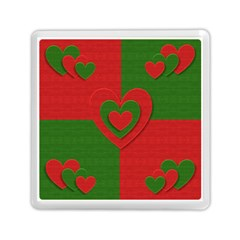 Christmas Fabric Hearts Love Red Memory Card Reader (Square)
