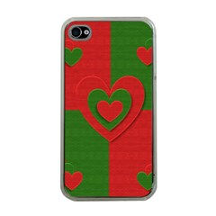 Christmas Fabric Hearts Love Red Apple iPhone 4 Case (Clear)
